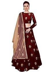 Shree Impex Womens Embroidered Taffeta Silk Semi Stitched Lehenga Choli (Free Size) (Maroon)