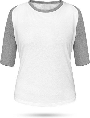 Baseball / Kontrast Shirt | 3/4 Arm für Damen Farbe Weiß/Grau Größe L (Jersey Armee Baseball)