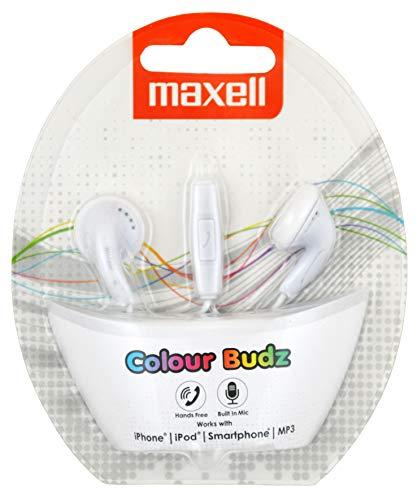 Maxell 303750 Colour Budz Plus Mic Stereo Ohrhörer mit Mikrofon 3,5 mm Klinke weiß -