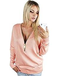 Blusas de Mujer, Oyedens Camiseta Profunda De V De Las Mujeres Camiseta Floja Del Suéter De La Cremallera Del Bodycon Blusa Tops