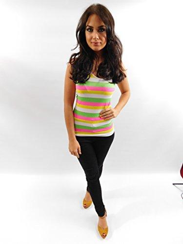 Canottiera da donna, motivo a righe, stile Casual, Maglietta estiva Green Pink Yellow