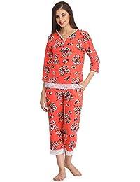 Clovia Women Floral Print Top And Capri Set With Lace Hem - Orange