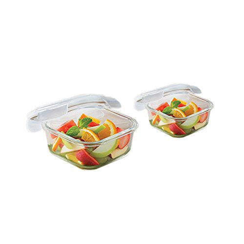 Borosil Microwavable Klip - N - Store Square Dish With Lid - Set of 2 (520, 320 ml)  available at amazon for Rs.670