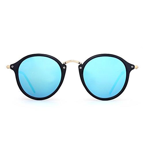 Jim halo occhiali da sole retro polarizzati rotondi lente piccolo specchio colorato cerchio uomo donna (nero lucido/polarizzato specchio blu)