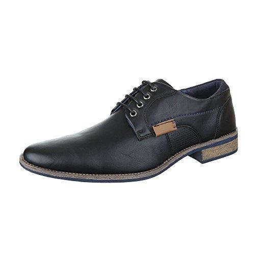 Budapester Stil Herren Schuhe Blockabsatz Schnürer Schnürsenkel Ital-Design Business-Schuhe Schwarz, Gr 42, C8003-
