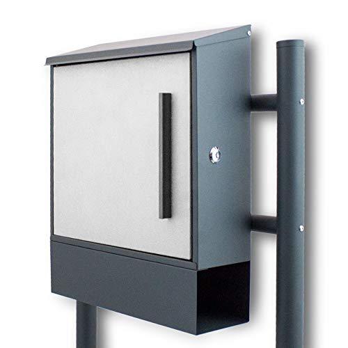 BITUXX® Freistehnder Standbriefkasten Briefkastenanlage Seitenschloss und Zeitungsfach unten Dunkelgrau/Hellgrau