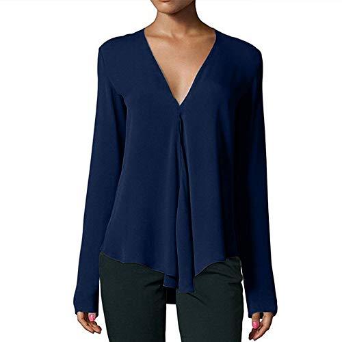 Oberteil Bluelucon Damen Bluse V-Ausschnitt Lose Casual Chiffon Langarm Hemd Frauen Herbst Langarmshirt T-Shirt Tops -