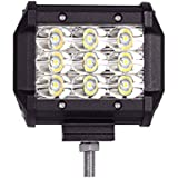 AllExtreme EX9SFL1 9 LED Square Fog Light 4 Inch Waterproof Driving Spot Lamp with Adjustable Mounting Bracket for Car, Motorcycle, Bike, SUV, ATV (27W, White Light, 1 PC)