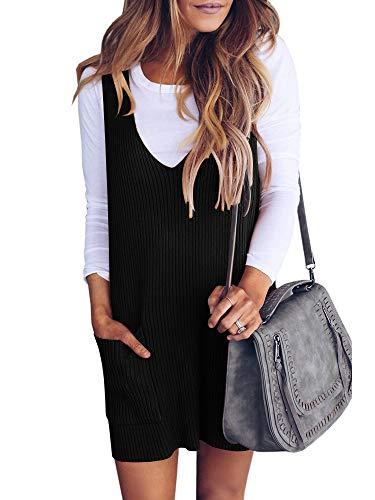 Ybenlover Damen Latzrock Strick V Ausschnitt Trägerkleid Retro Kleider Mit Taschen