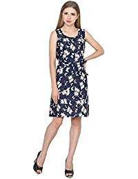 My Swag Women's Navy Blue Colour Floral Print Sheath Dress
