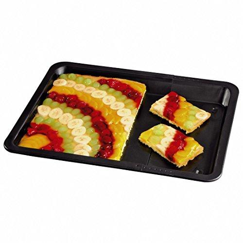 Xavax Backblech, Rechteckig zum Backen von Blechkuchen, Zwiebelkuchen sowie Pizza, Ausziehbar von 33 bis 52 cm Breite, Randhöhe: 3 cm, Antihaft, schwarz