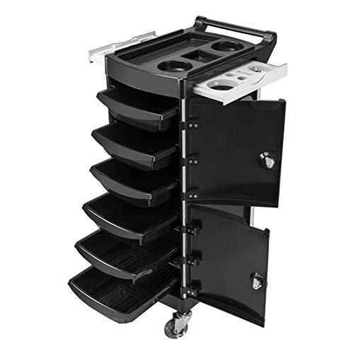 2 AbschließBare Rollwagen Mit 6 Schubladen 4 Rollen Haartrocknerhalter Friseursalon Friseursalon Beauty Salon Utility Cart Schwarz -