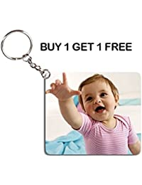 BUY 1 GET 1 FREE - Personalized Photo Printed Keychain - Keychain With Your Photo & Name - Print On Both Side...