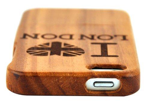 SunSmart (TM) unique fait main naturelle merisier Hard Cover Case en bois pour iPhone 5 5s(source d'inspiration) sapelli-I love London