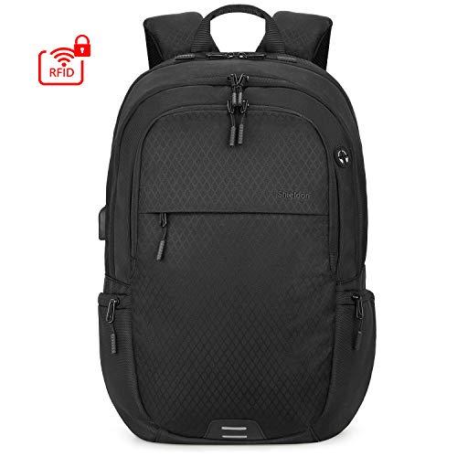 SHIELDON Laptop Rucksack, Reiserucksack Herren, Super Leicht Daypack für 15-15,6 Zoll Notebooks, RFID-Schutz von Bankkarteninformationen, Wasserabweisend Backpack für Travel Business, (24L) Schwarz