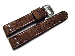 Bracelet de montre - d'origine Watchband-Berlin - cuir de buffle – marron - 22 mm