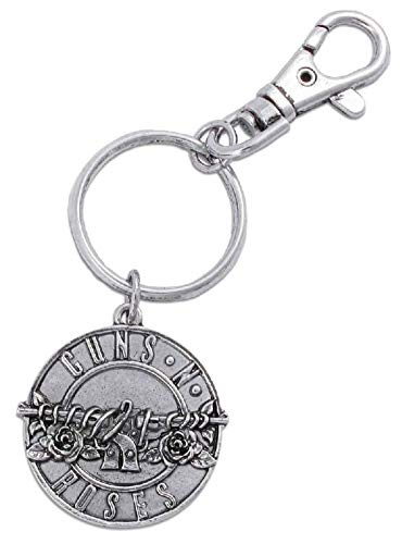 Guns N Roses Schlüsselring Keychain classic Pistols Band Logo disc Nue offiziell -