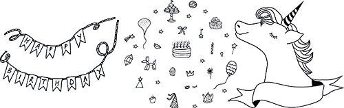 Securit Girl 's Geburtstag Thema Fenster Schablonen inkl. Kreide Marker, Weiß, Größe A2, Set von 3