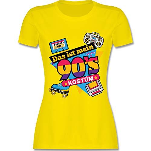 Karneval & Fasching - Das ist Mein 90er Jahre Kostüm - S - Lemon Gelb - L191 - Damen Tshirt und Frauen T-Shirt