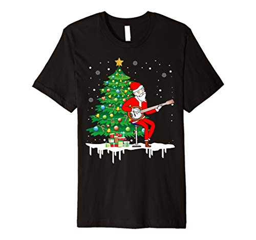 Weihnachtsmann, der Banjo-lustiges Geschenk-T-Shirt -