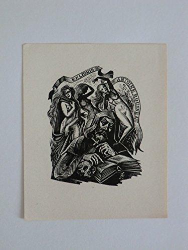 Erotisches Exlibris für Antoine Rousseau. Motiv: Mönch vor drei weiblichen Akten