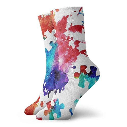 Xdevrbk Casual Crew Socks Puzzle Autism Awareness Watercolor Splatter Ankle Socks Short Dress Compression Socks For Women Men