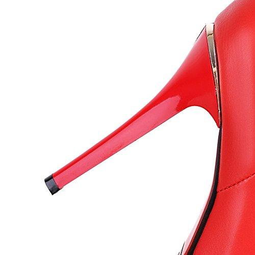 VogueZone009 Donna Puro Tacco Alto Punta Chiusa Luccichio Cerniera Stivali Rosso
