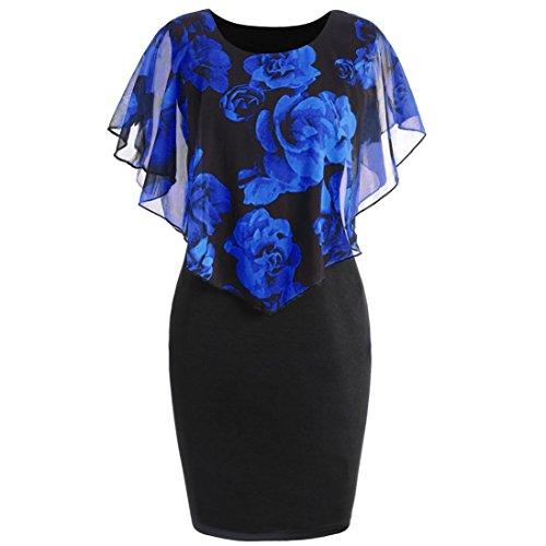 ❤️Sommerkleid Damen Kleider, Sunday Mode Casual Plus Size Rose Print Chiffon O-Ausschnitt Rüschen Minikleid Bodycon Kleid (XL, Blau) (Plus Größe 18 Brautkleider)