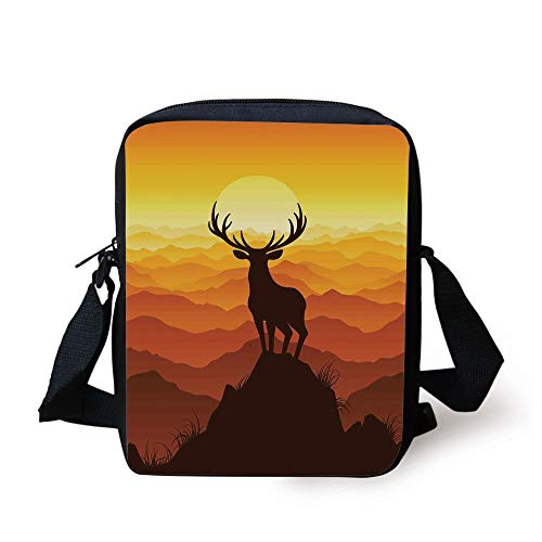 Antlers Decor,Deer at Sunset Adventure Wildlife Landscape Panoramic Valley Hill Silhouette Mountain Decorative, Print Kids Crossbody Messenger Bag Purse - Deer Valley