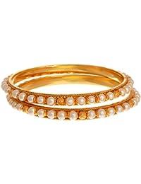 JFL - Traditional Ethnic One Gram Gold Plated Pearl Designer Bangle For Women & Girls