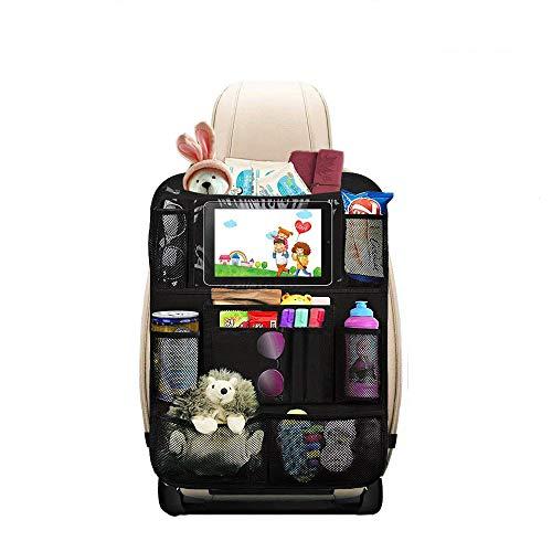 1 Stück Premium Auto Rückenlehnenschutz, HE-TOP Autositz Organizer mit Taschen | Rücksitz Schutz Kick-Matte | Auto Rücksitz-Organizer für Kinder mit Durchsichtigem Großen Tablet iPad Fach