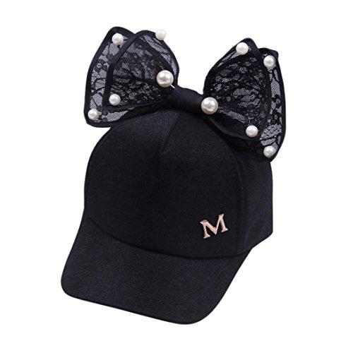 Casquette Fille,Covermason Impression M-letter baseball casquette chapeau  Casquette brodée Pearl bowknot pour 17b22006297