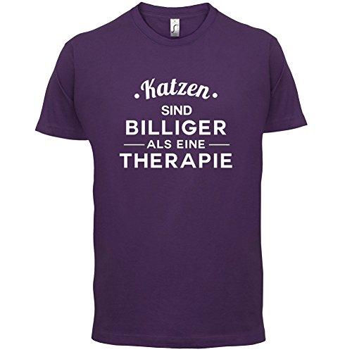Katzen ist billiger als eine Therapie - Herren T-Shirt - 13 Farben Lila