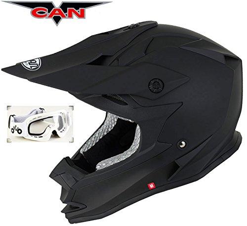 v-can ForceV321Motorrad-/Motocross-Helm, ACU-Gold-zugelassen, matt-schwarzer Helm mit Schutzbrille