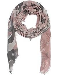 Kandharis XXL Schal Tuch für Damen Fransen Vierecktuch Vintage Stern Karo Camourflage Herz Print Baumwollmischung Oversized WS-16