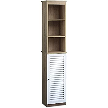Bathroom Cabinet With 6 Shelves And Door Tall Free Standing Cupboard Storage  Room