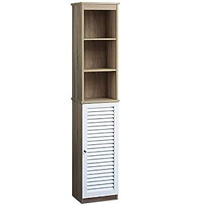 DEUBA® Armario Alto para baño | con 6 estantes | Diseño Elegante | Puertas con Listones | 34 x 26 x 170 cm