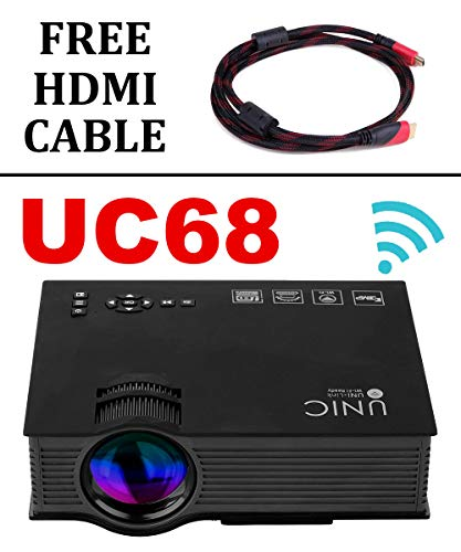 UNIC UC68 FullHD LED WiFi Projector with Free HDMI Cable, 1800 lumi/Airplay/Miracast/HDMI/USB/SD/AV/VGA/DLAN/YouTube with Theater Effect Portable Projector