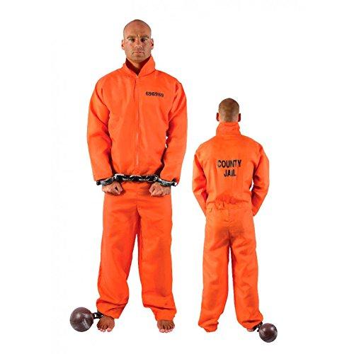 P'tit Clown 11098Erwachsenen-Kostüm, amerikanischer Häftling-Einheitsgröße-Orange (Orange Kostüm Häftling)
