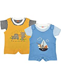 Orange and Orchid Baby Boys Cotton Tops & Bottoms Sets -Pack of 2
