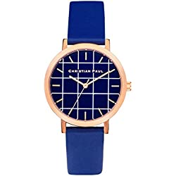 Christian Paul grl-04Herren Edelstahl blau Leder Band Blau Zifferblatt Armbanduhr