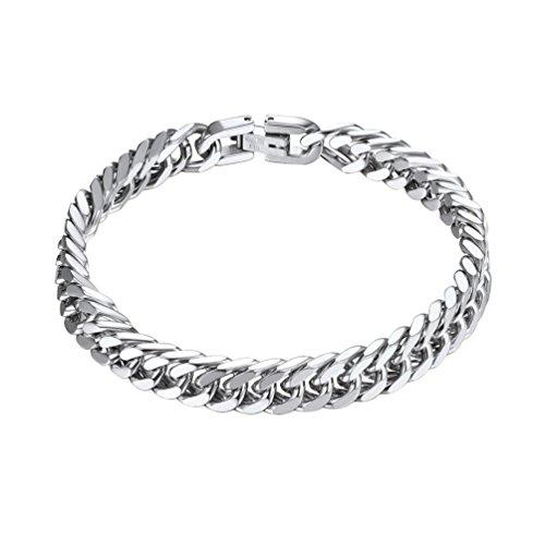 Prosteel bracciale a catena pesante bracciale da uomo bracciale in acciaio inossidabile inox 8 mm 21 cm regalo san valentino (argento)