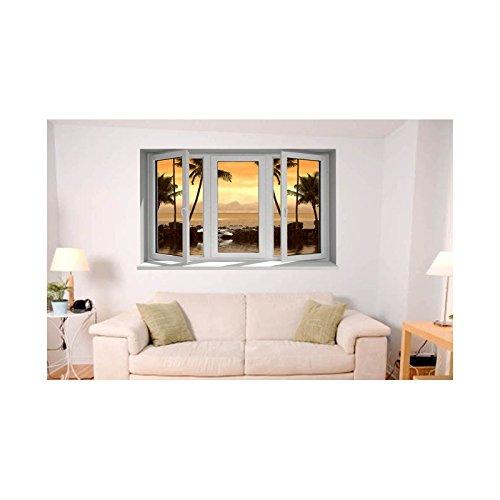 Tatoutex adesivi trompe l' oeil finestra di tramonto, l 150cm x h 90cm