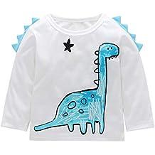 YanHoo Ropa para niños Camiseta de Manga Larga con Estampado de Dinosaurio de Cuello Redondo y