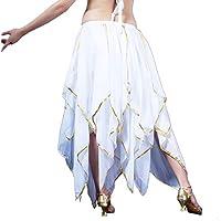 Calcifer - Falda de Gasa para Danza del Vientre de 16 Hojas, Disfraz de Baile, Vestido de Baile, para Mujer, Blanco
