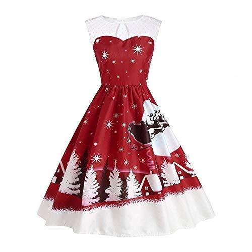 Weihnachten Spitzenkleid Damen,Elecenty Frauen Ärmellos Midikleid Kniekleid Swing-Kleid Abendkleid Ballkleider Christmas Blumenkleid