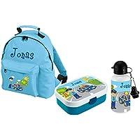 Preisvergleich für Mein Zwergenland Set 3 Kindergartenrucksack, Brotdose Brotdose Mepal mit Bento Box und Gabel und Trinkflasche Classic mit Namen, 3-teilig