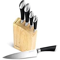 Denkich Couteaux Cuisine Bloc à Couteaux en Acier Inoxydable 6 pièces, Ensemble de Couteaux Professionnels, Couteaux de Chef avec Bloc en Bois