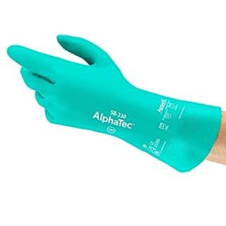 Ansell AlphaTec 58-330 Nitril Handschuhe, Chemikalien- und Flüssigkeitsschutz, Meergrün, Größe 9 (12 Paar pro Beutel)