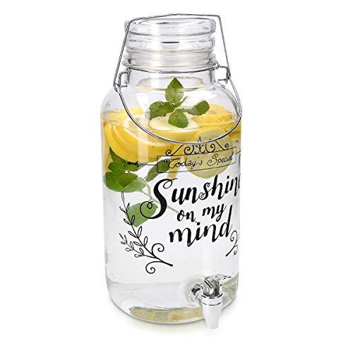Navaris dispensador de Bebidas con Capacidad de 5.5 litros - Dispensador de Vidrio con Tapa de bambú Grifo y Cierre Giratorio - Recipiente de Bebidas